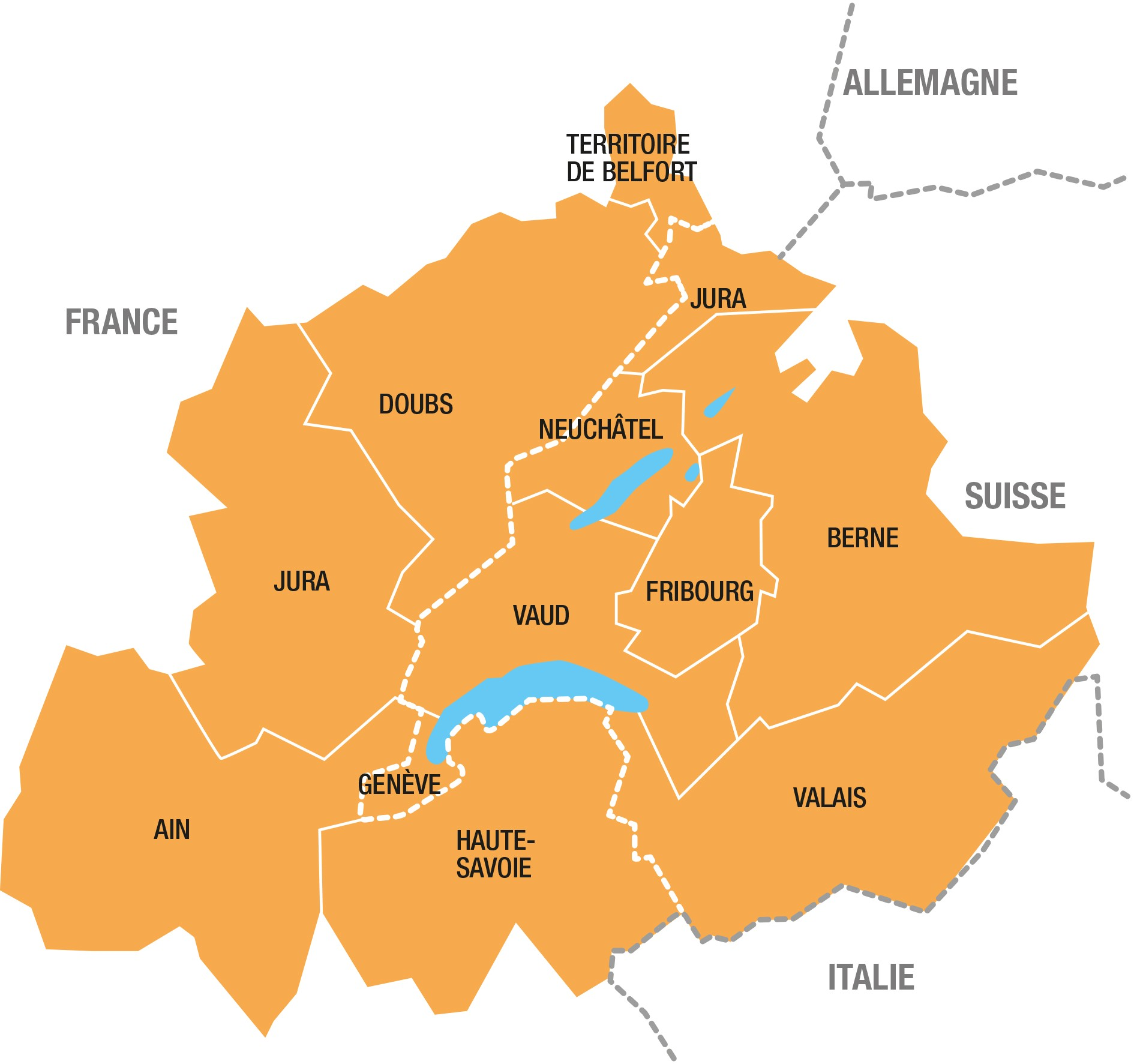 Carte Programme Interreg France Suisse